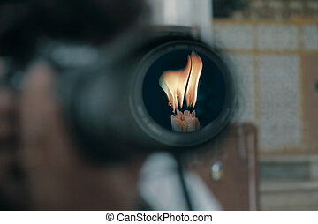 Camera Lens, Candle Flame, Concept