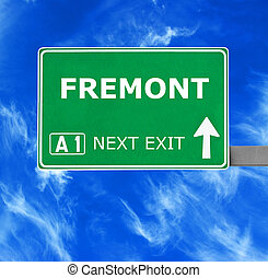 FREMONT road sign against clear blue sky