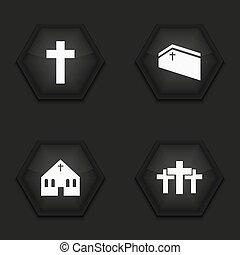 Vector modern religion icons set