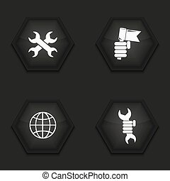 Vector modern labour day icons set on background