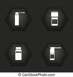 Vector modern medical kit icons set on background