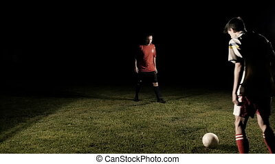 Two Soccer Player Dribbling The Ball Slow Motion - Two...
