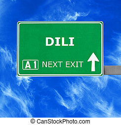 DILI road sign against clear blue sky