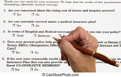 Medical Survey - A hand with a pen filling out medical...