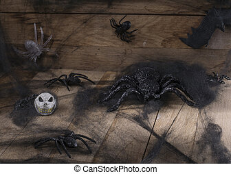 Halloween - Image of halloween toy spider and little skull