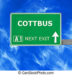 COTTBUS road sign against clear blue sky
