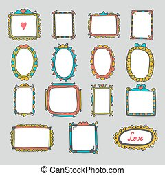 Collection of hand drawn cartoon frames. Sketchy doodle frames and borders