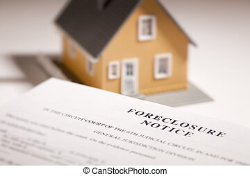 Foreclosure Notice and Model Home on Gradated Background...