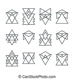 Set of trendy geometric icons. Geometric hipster logotypes collection. Religion, philosophy, spirituality, occultism symbols