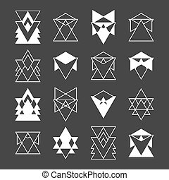 Set of trendy geometric shapes. Religion, philosophy, spirituality, occultism symbols. Geometric hipster logotypes collection