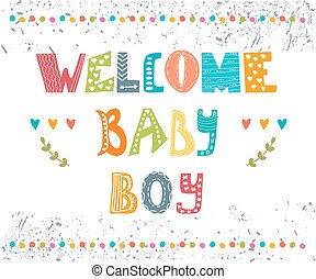 Welcome baby boy. Baby boy arrival postcard. Baby boy cute shower card