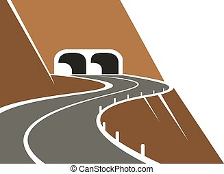 Mountainside winding road and tunnel - Mountainside road...