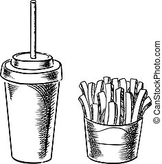 French fries and cold soda drink sketches