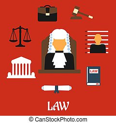 Judge with court flat icons - Judge profession flat icons...