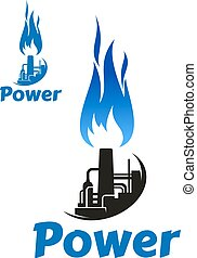Oil refinery factory and blue flame icon - Industrial symbol...