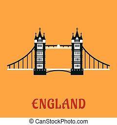 Flat icon of Tower Bridge in London - Travel landmark of...