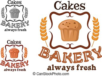 Bakery shop sign with cupcake and wheat - Bakery or pastry...