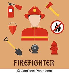 Fireman with fire fighting tools, flat icons - Firefighter...