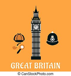 Big Ben tower and other britain objects - Great Britain...