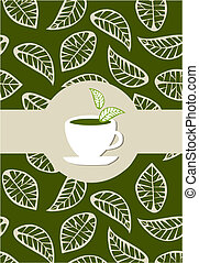 Green tea package label - beige leaves on green background...