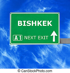 BISHKEK road sign against clear blue sky