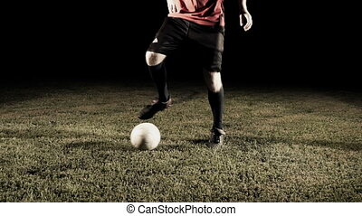 Soccer Player Dribbling The Ball Slow Motion - Soccer ball...