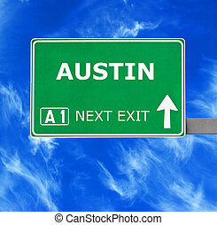AUSTIN road sign against clear blue sky