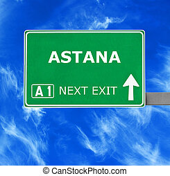 ASTANA road sign against clear blue sky
