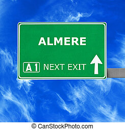 ALMERE road sign against clear blue sky