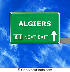 ALGIERS road sign against clear blue sky