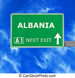 ALBANIA road sign against clear blue sky
