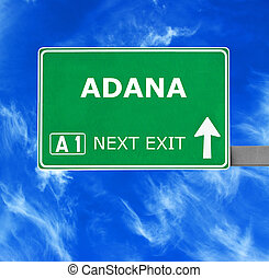 ADANA road sign against clear blue sky
