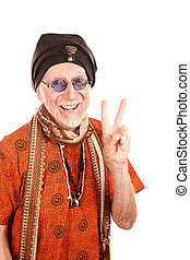 Funny Guru Making Peace Sign - Funny Senior Guru in Orange...