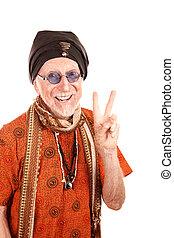 Funny Guru Making Peace Sign