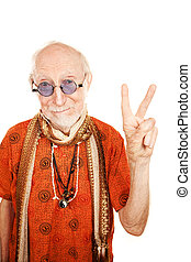 Senior Man Making Peace Sign - New age senior man in orange...