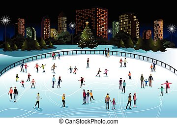 People Ice Skating Outdoor - A vector illustration of people...