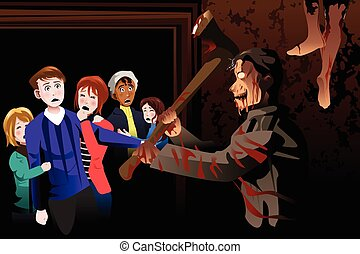 People Inside Scary House at Theme Park - A vector...