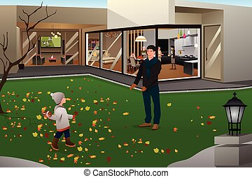 Father Son Playing Football on Thanksgiving - A vector...