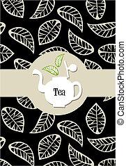 Tea package label - beige leaves on black background vector...