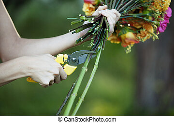 Florist cutting flowers stems, closeup of female hand with...