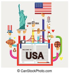 vector usa White House Statue of Liberty rugby flat illustration icon arm and hand Modern