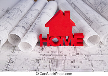 Home model with blueprint drawing - House model,...
