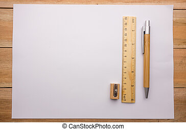 Pencil eraser and sharpener on the paper for write the idea...