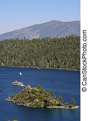 Tour Boats on Lake Tahoe in California - Scenic view of a...