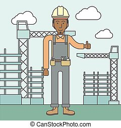 Builder - Smiling african-american builder with thumbs up at...