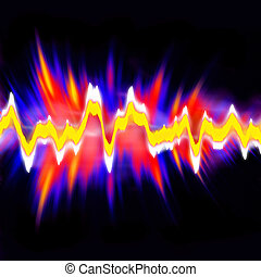 Audio Waveform - Funky neon glowing audio waveform or...