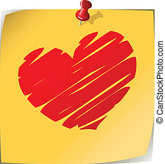 Love note - Pinned yellow note paper with drawn heart...