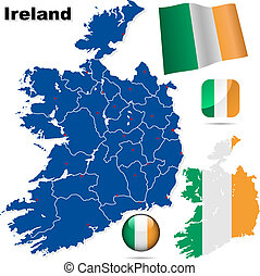 Ireland vector set Detailed country shape with region...