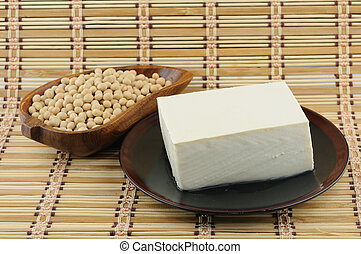 tofu and soybean - Close up of tofu and soybean