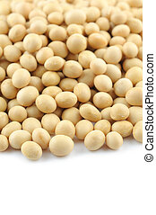 Close up of soy beans in over white background
